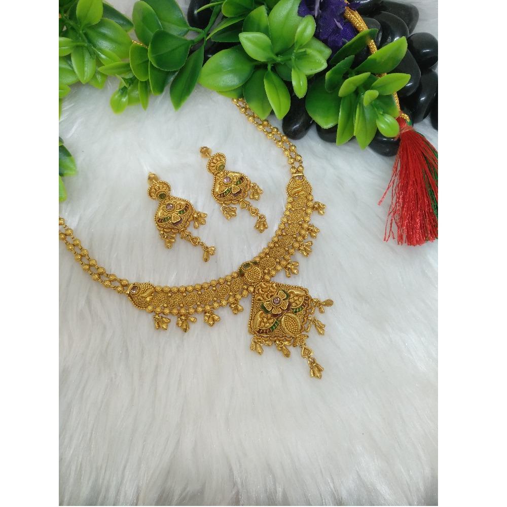 916 Gold Antique Short Necklace Set PO-N010