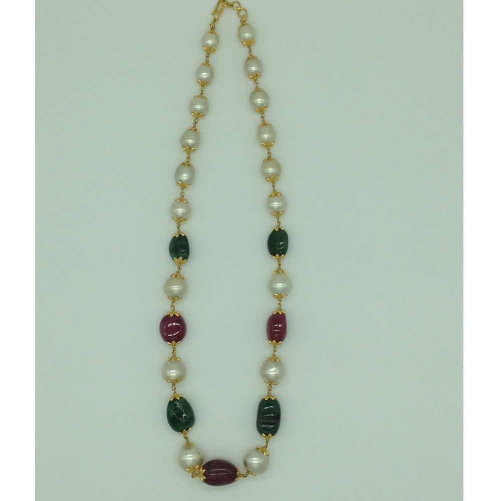 CreamSouth Sea Round Pearls With Ruby And Emerald Oval Tumbles Gold Taar Necklace JGT0004