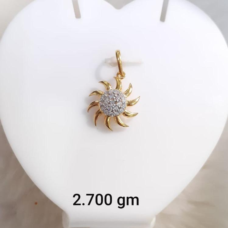 916 Gold CZ Surya Design Pendant KG-P05