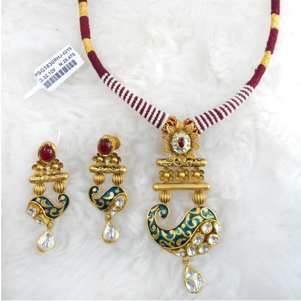 Antique Gold N Jadtar Set: Buy Quality Gold Antique Jadtar Necklace Set RHJ 5219 In