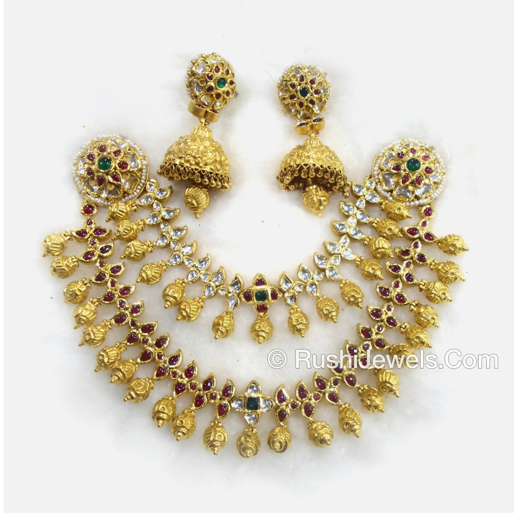 22k 916 antique gold bridal choker necklace and earring set
