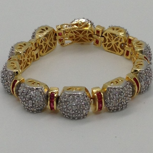 White and red cz flexible openable braceletjbg0021