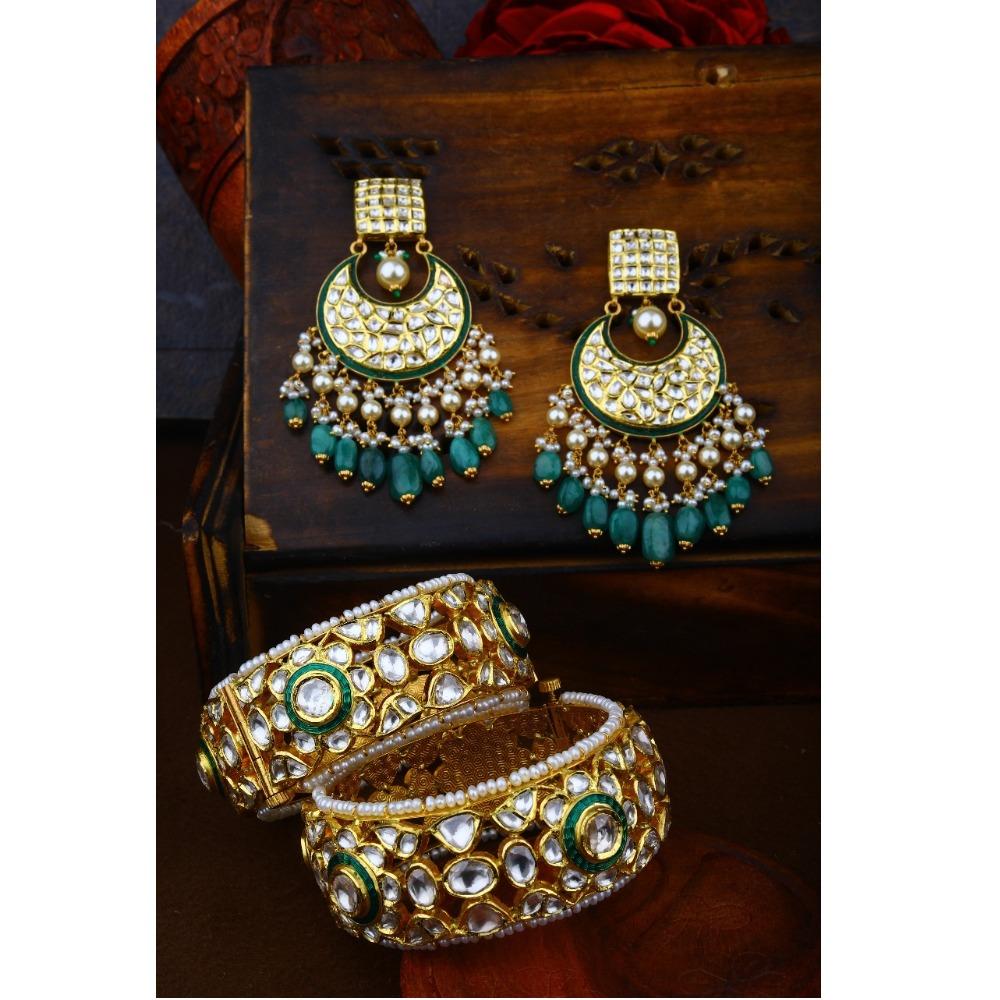 Gold Kundan Chandbali Earring With Bangles For Bridal