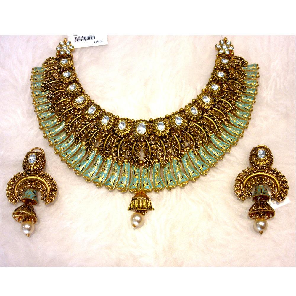 Gold 22k bikaneri meena design chokar necklace set