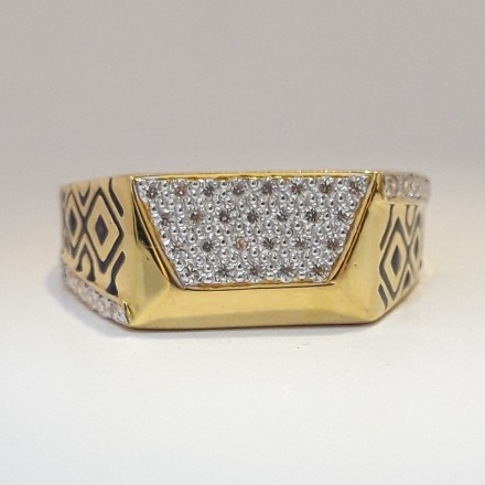 916 cz gold fancy carving ring for men