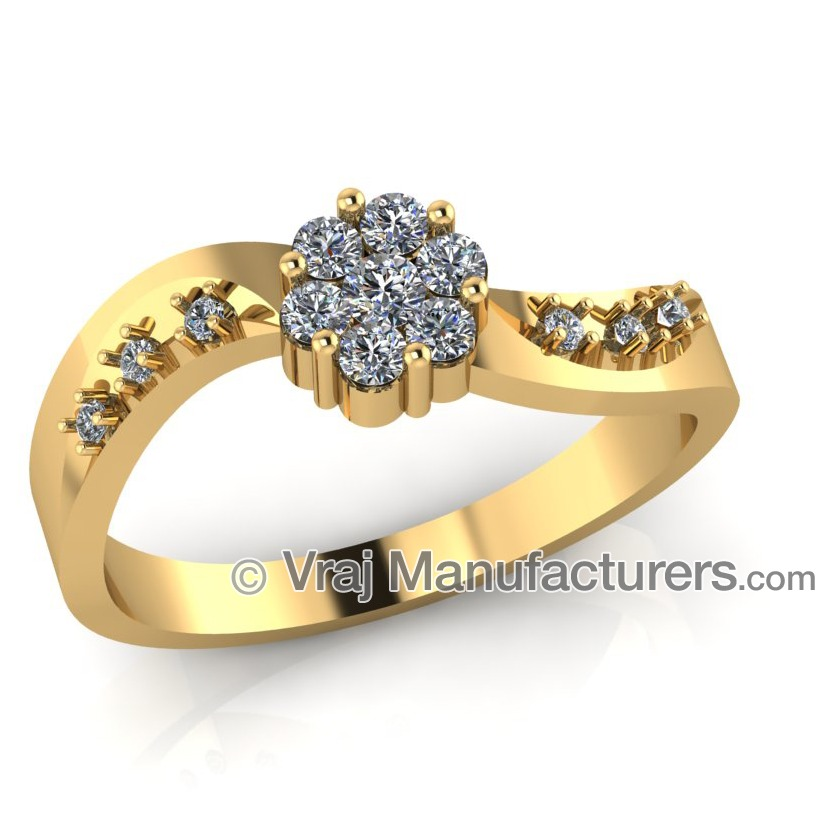 18K Yellow Gold Fancy Shaped Casting Diamond Ring For Women