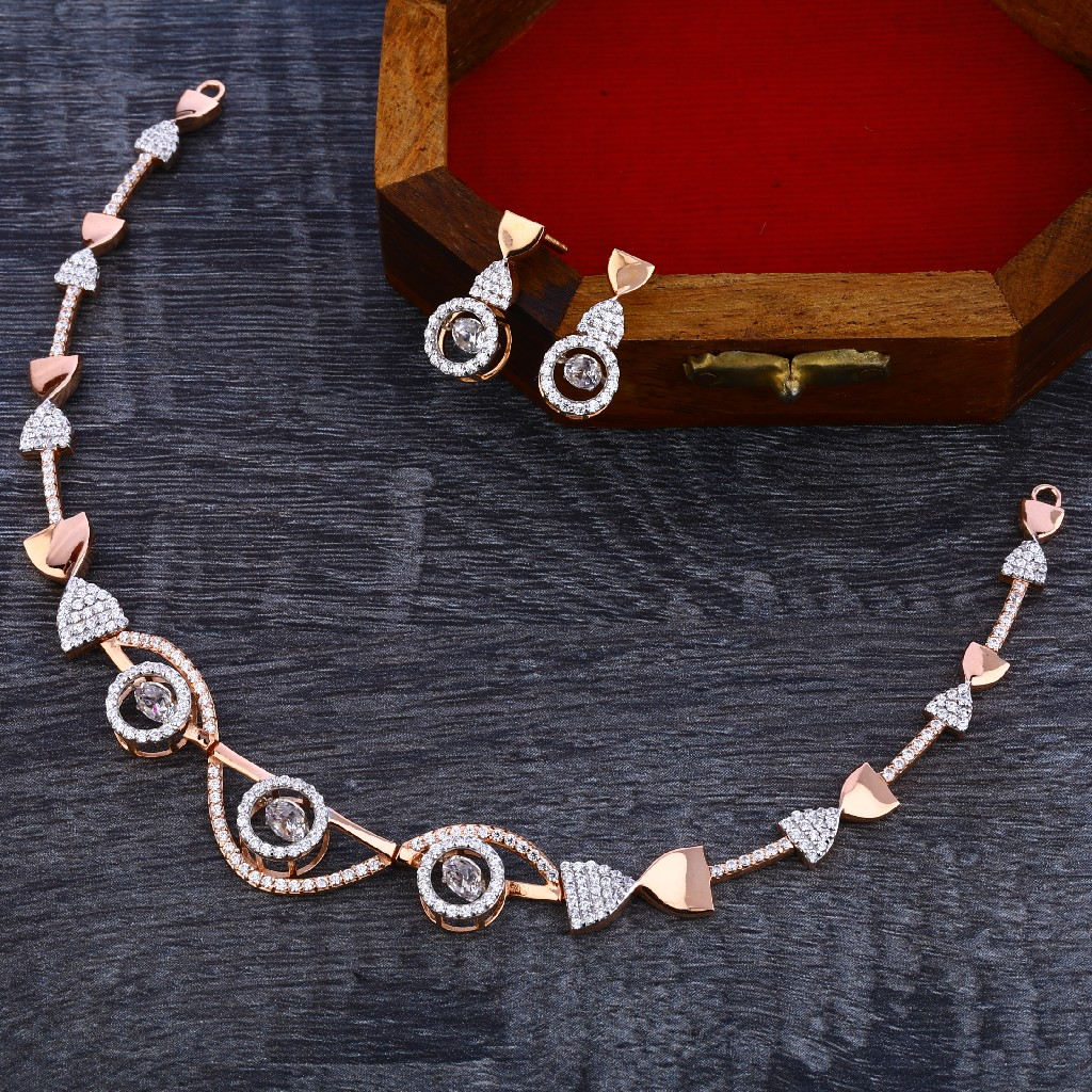 18KT Rose Gold Stylish Women's Necklace Set RN137