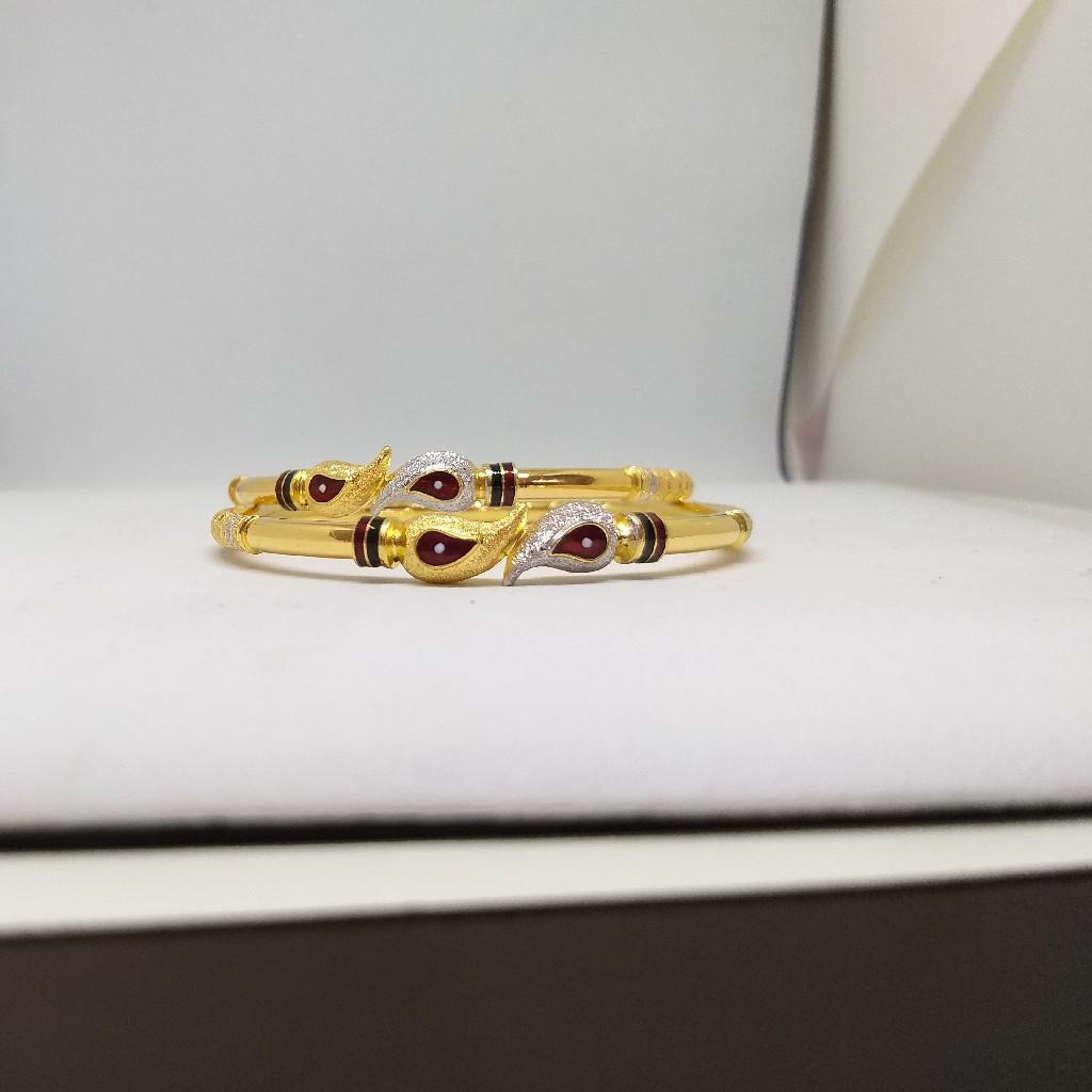 22KT/916 LEAFY DESIGN GOLD COPPER KADLI BANGLE