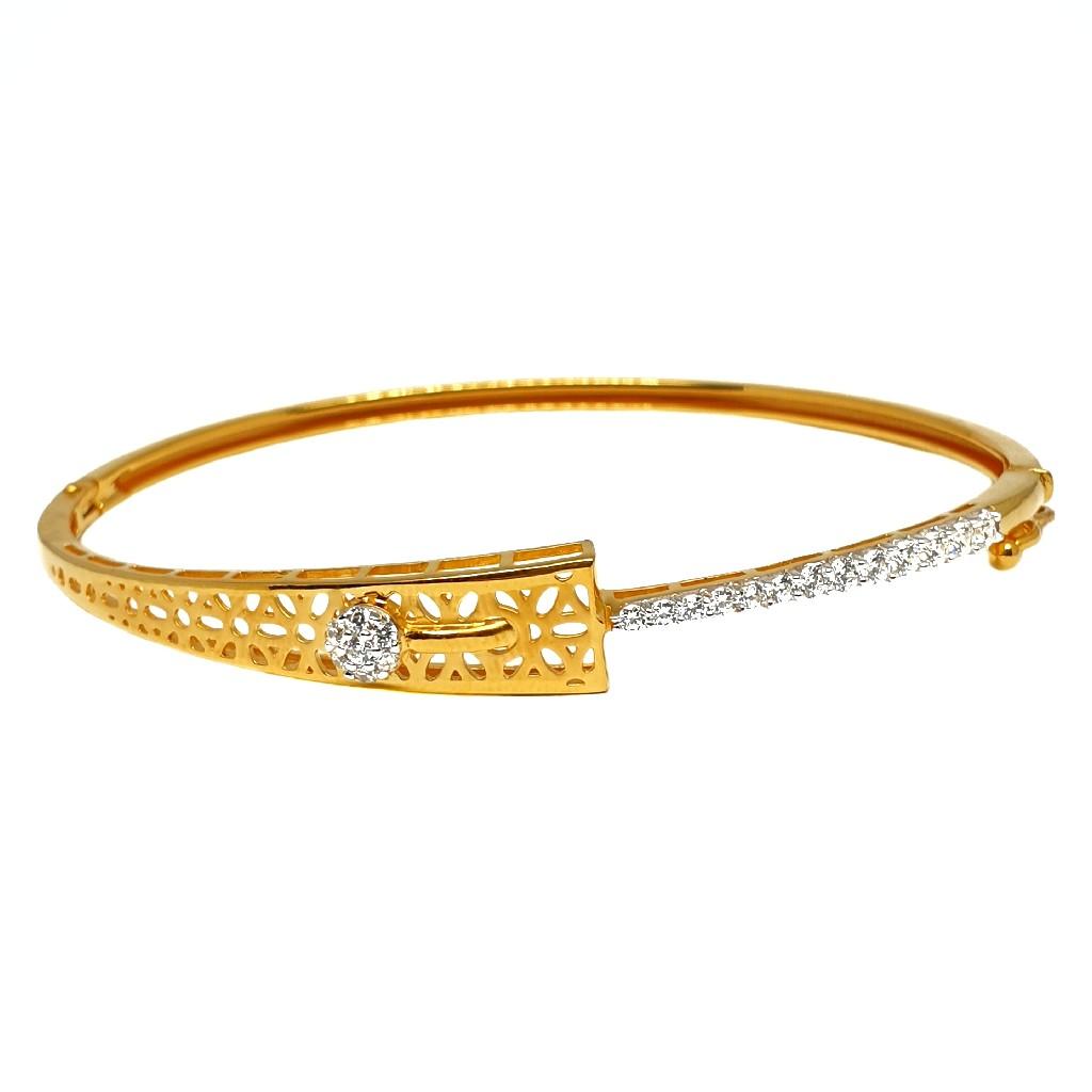 18K Gold Designer CZ Kada Bracelet MGA - BRG0030