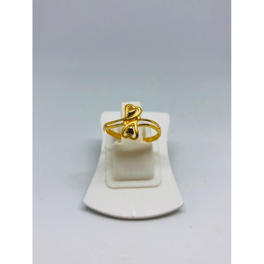 22KT Gold Double Heart Ring For Men KDJ-R016