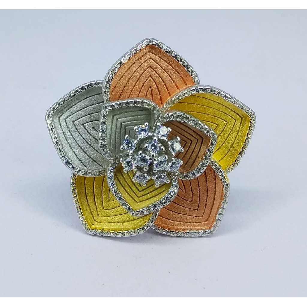 Tri colour 92.5 silver ring MG-R006