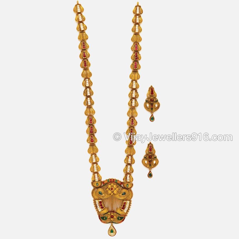 916 Indian Gold Bridal Long Necklace Set