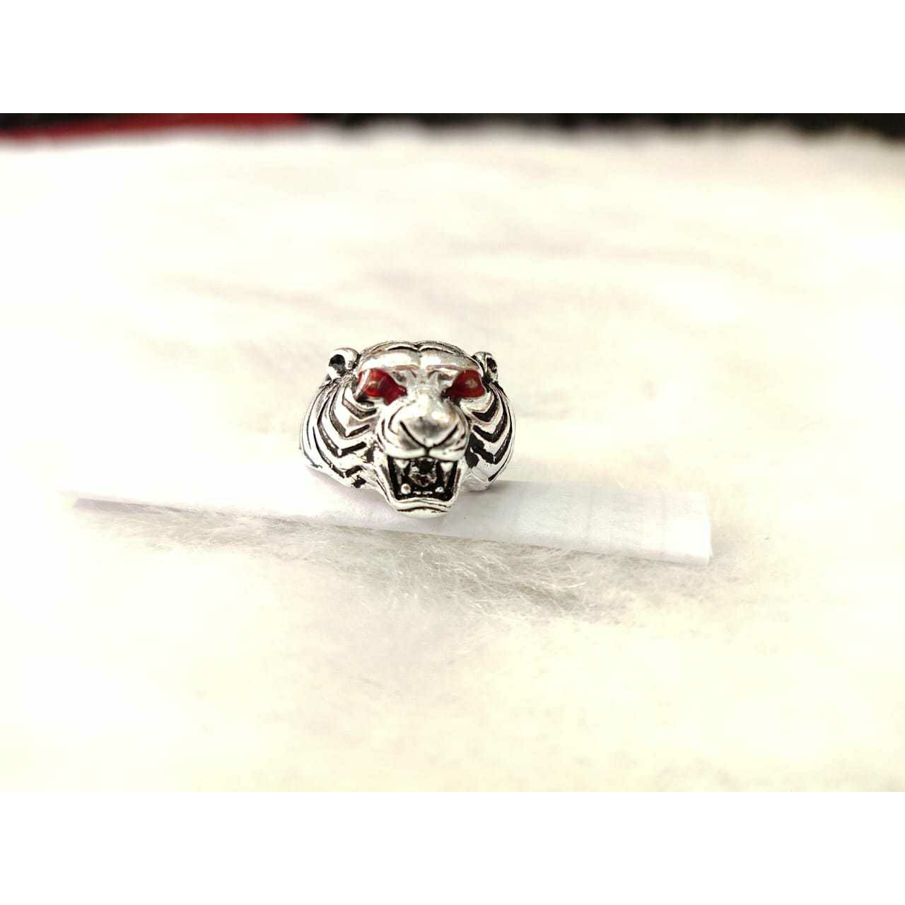 92.5 Sterling Silver Tiger Face Ring Ms-3814