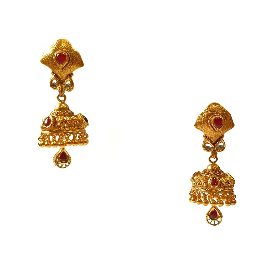 22K Gold Antique Long Set With Earrings Buti MGA - GLS0100