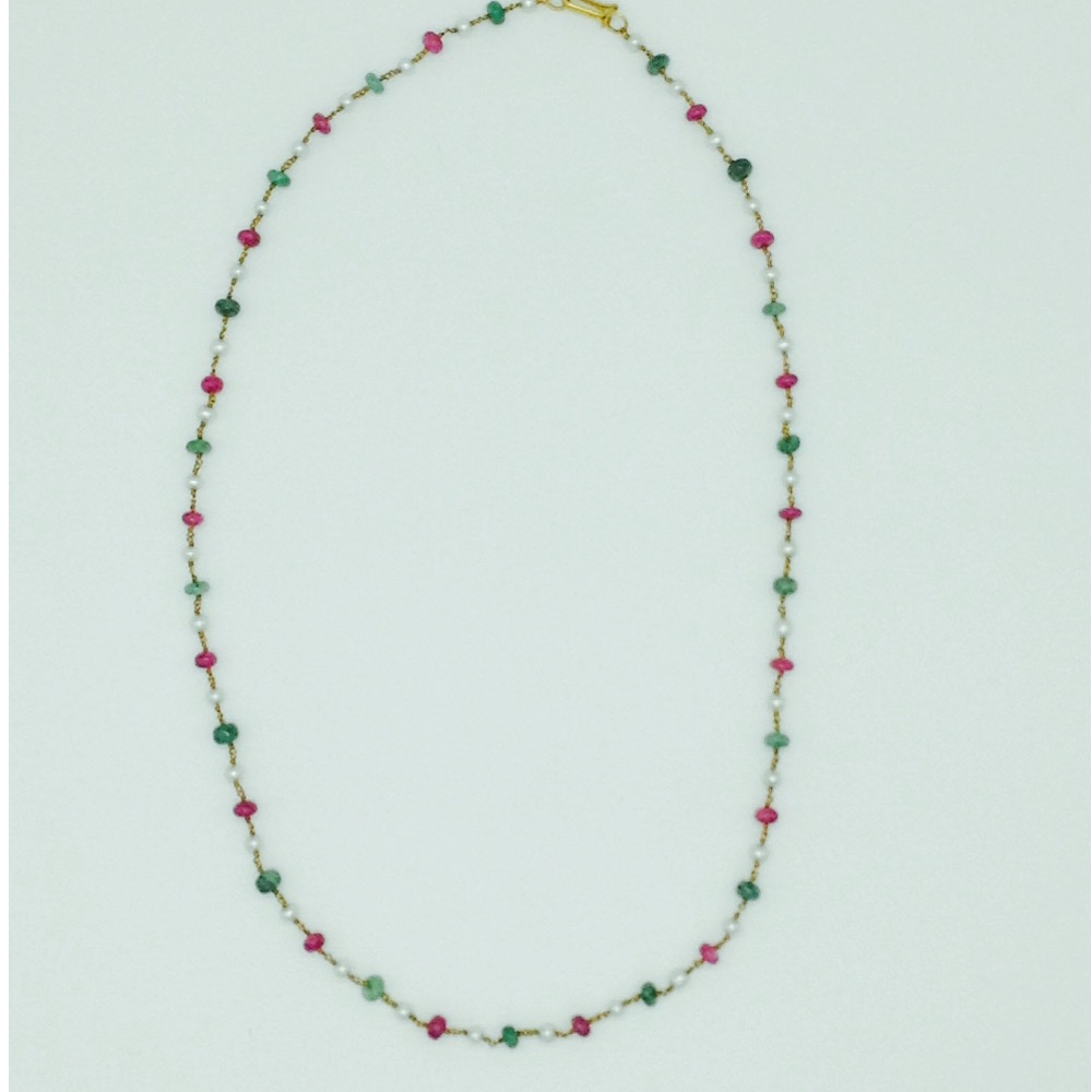 White roundpearls with ruby and emeralds gold taar malajgt0013