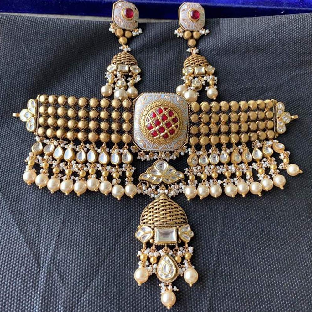 916 Gold Antique Jadtar Choker Set Form Rajkot