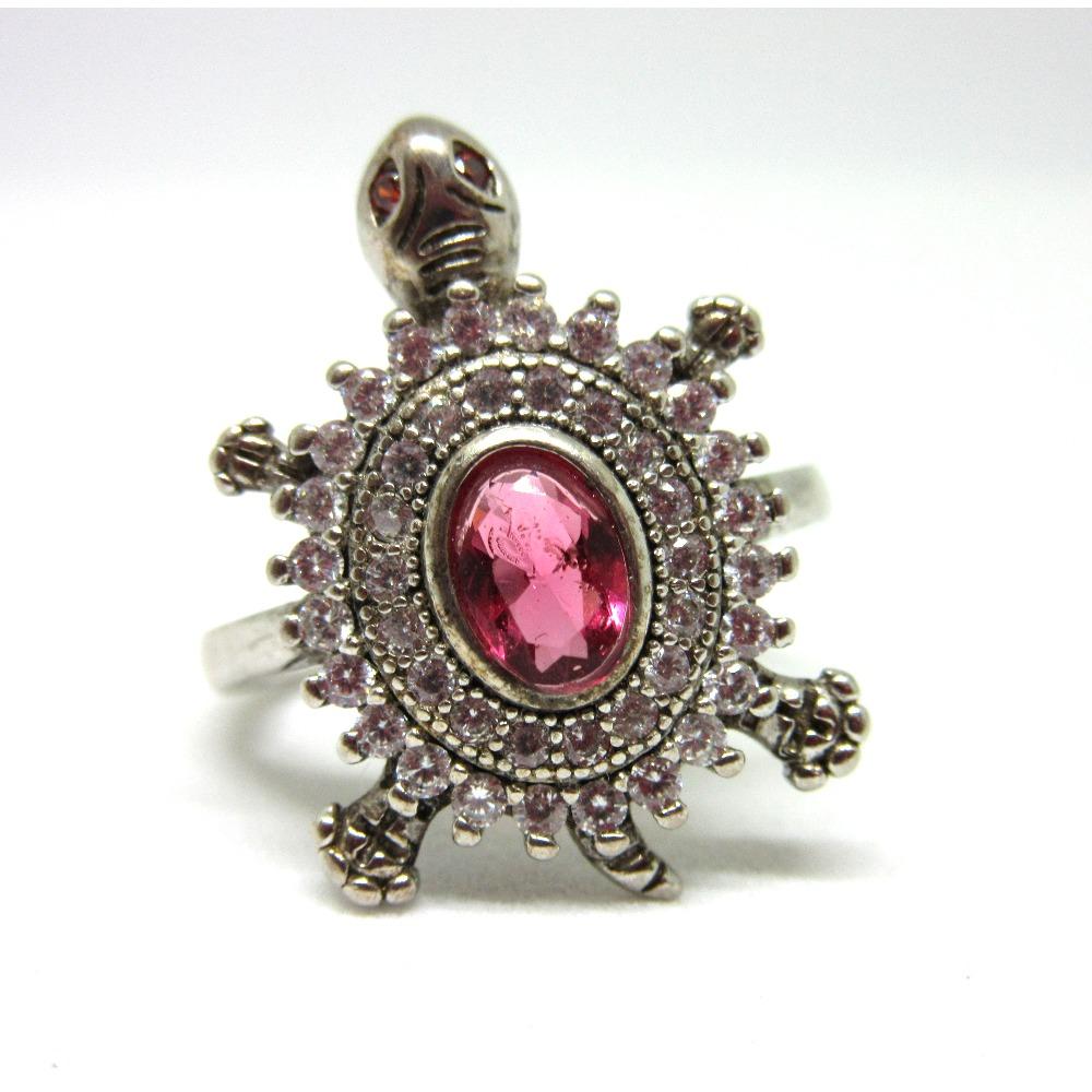 Silver 925 pink stone tortoise ring sr925-100