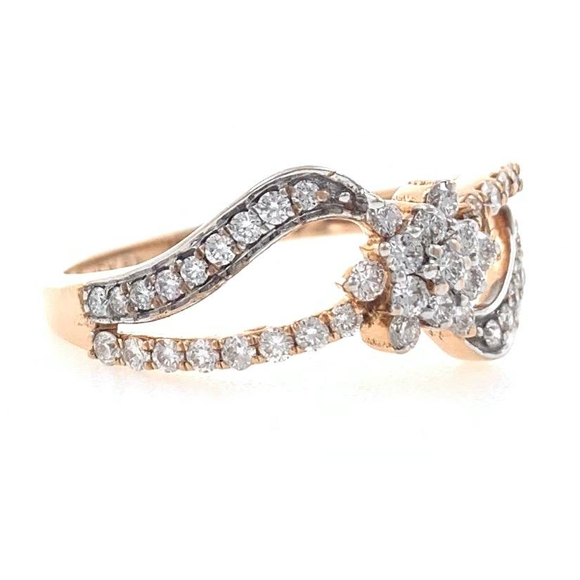 18kt / 750 rose gold floral diamond ladies ring 9lr53