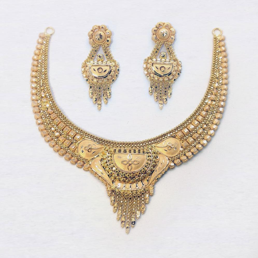 916 Gold Fancy Wedding Necklace Set SK-N015