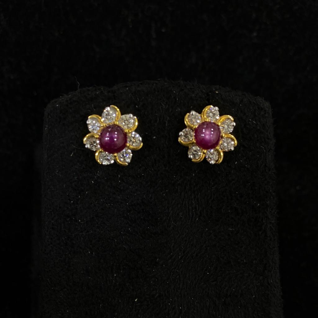 Star Ruby Diamond Earring