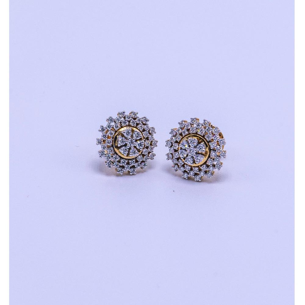 18k gold diamond earring  tops agj-er-06