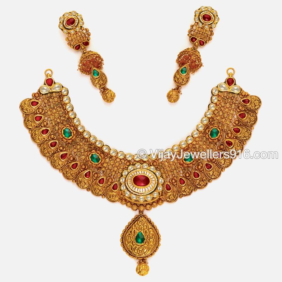 916 Fancy Gold Designer Bridal Choker Necklace Set