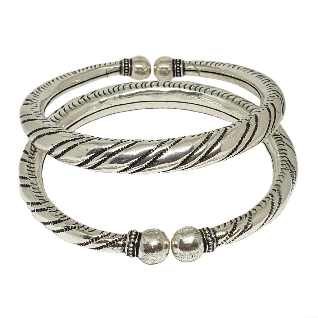 Oxidised Silver Kada Payal MGA - PLS3915