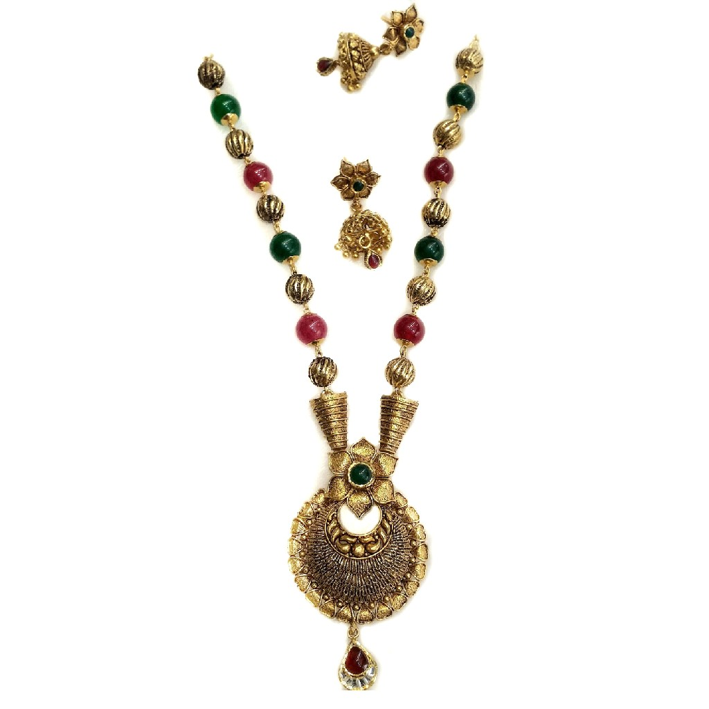 916 gold antique necklace set mga - gn024