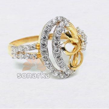 22kt CZ Diamond Gold Ring Fancy Design for Women