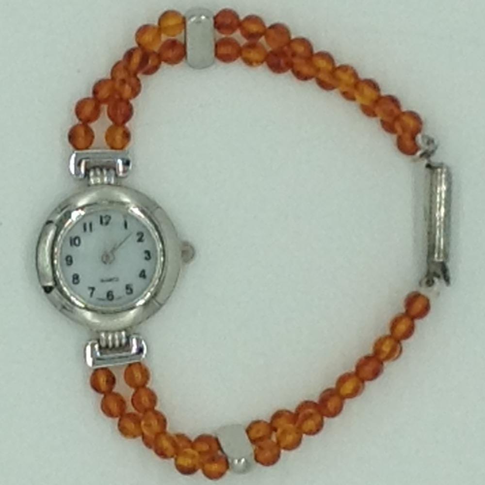 Orange Semi Round Beeds 2 LayersDesigner WatchJBG0261