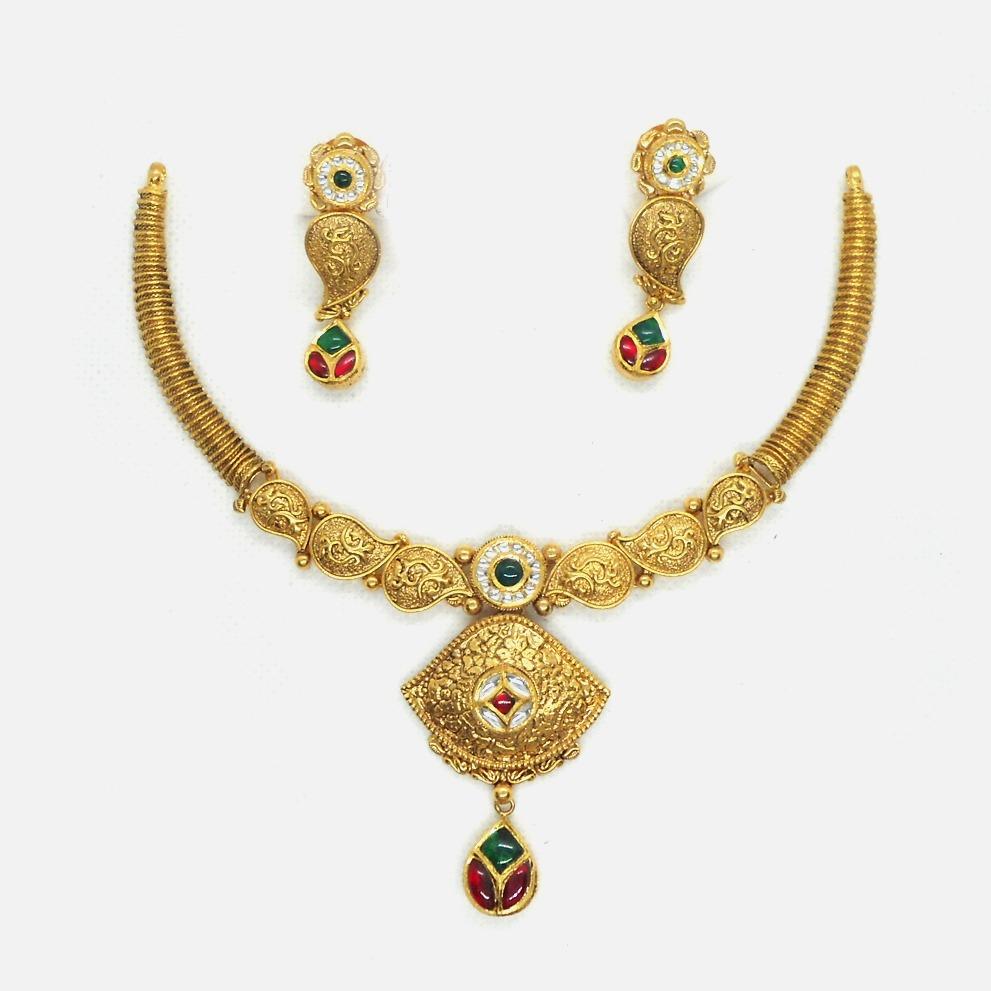 916 Gold Antique Wedding Necklace Set RHJ-4648