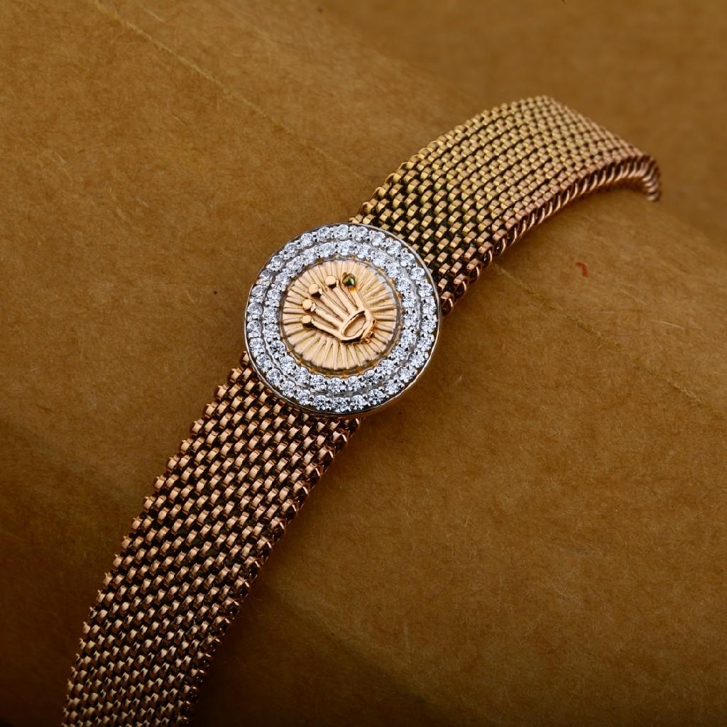 Mens 18K Designer Spring Rose Gold Leather Bracelet-MLB17