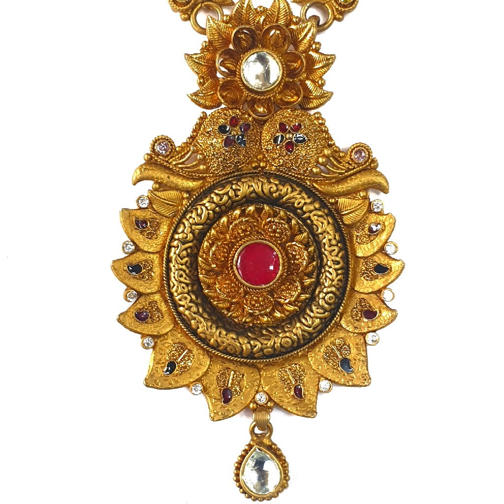 1 gram gold forming antique necklace set mga - gfn0032