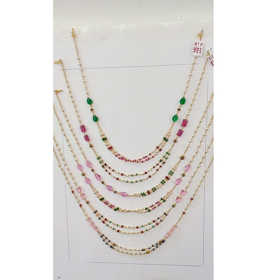 916 Gold Fancy Colorful Moti Chain