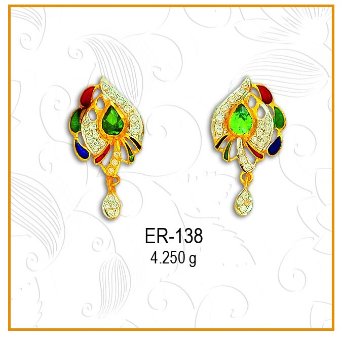 916 Gold Pan Shape Colored Stone Earring ER-138