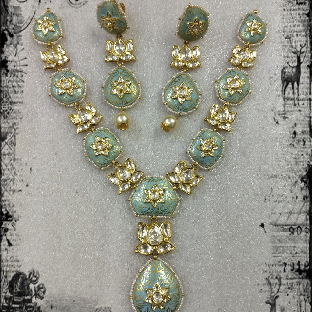 916 Gold mini long kundan meenakari  Neckalce set