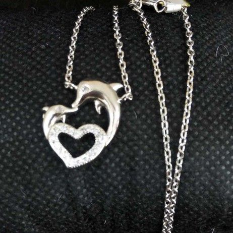 925 Sterling Silver  Heart Dolphin Designed Pendant Chain