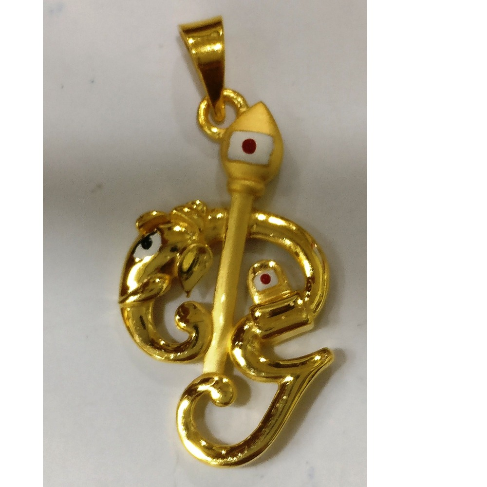 22kt gold plain casting tamil om pendant