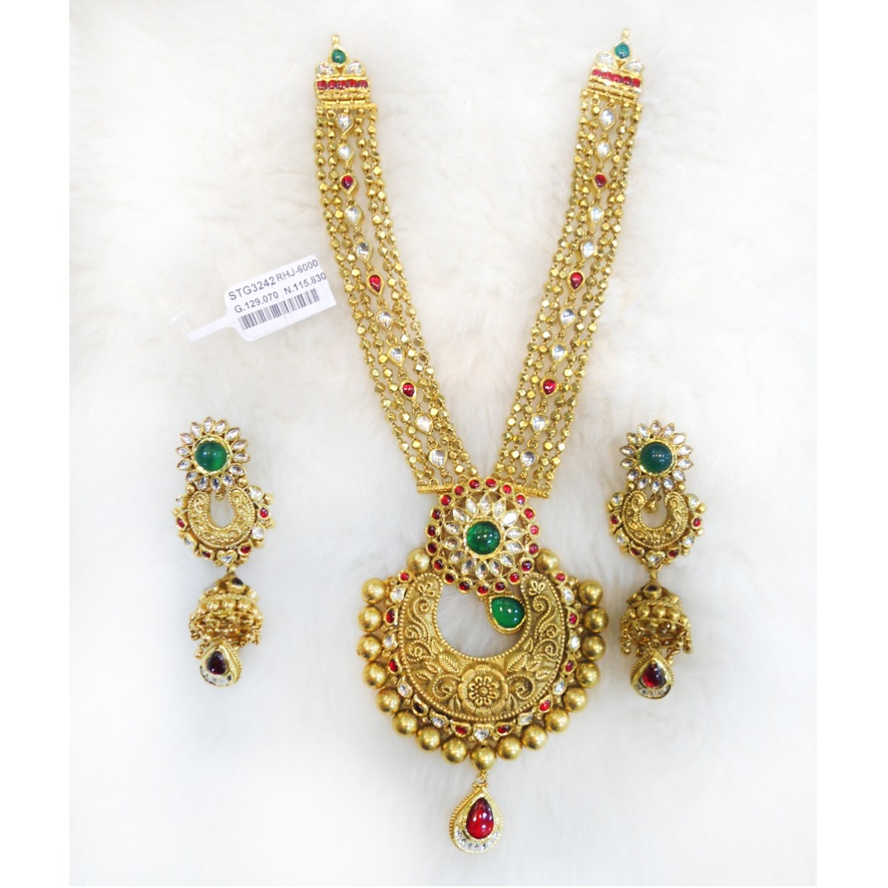916 Gold Antique Long Necklace Set RHJ-6000
