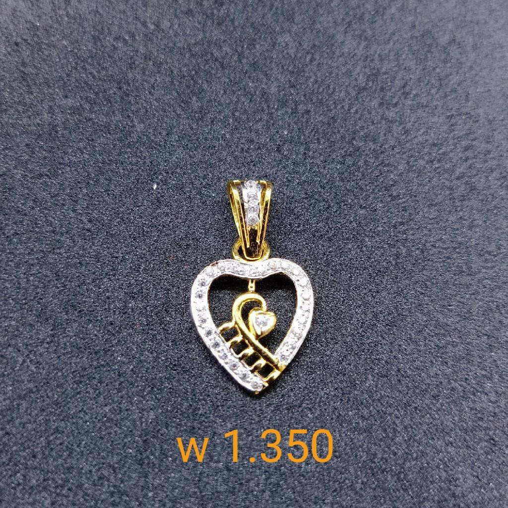22 kt cz gold pendant