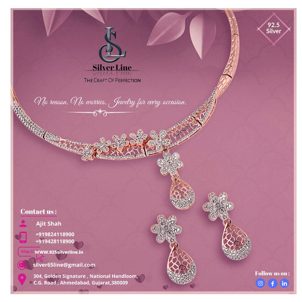 92.5 Silver rosegold Necklace