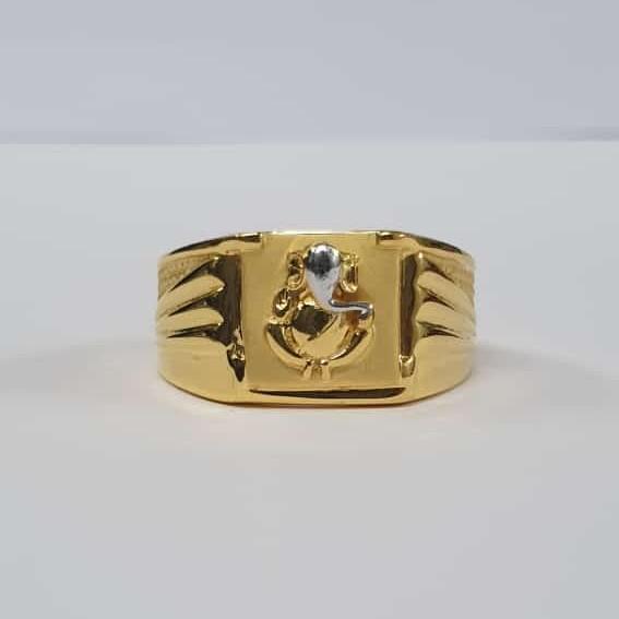 22Kt Gold Dull Polish Ganpati Design ring for Men
