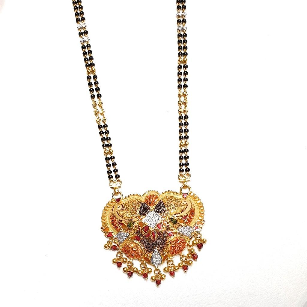 22k Gold CZ Diamond Minakari Mangalsutra MGA - GM052