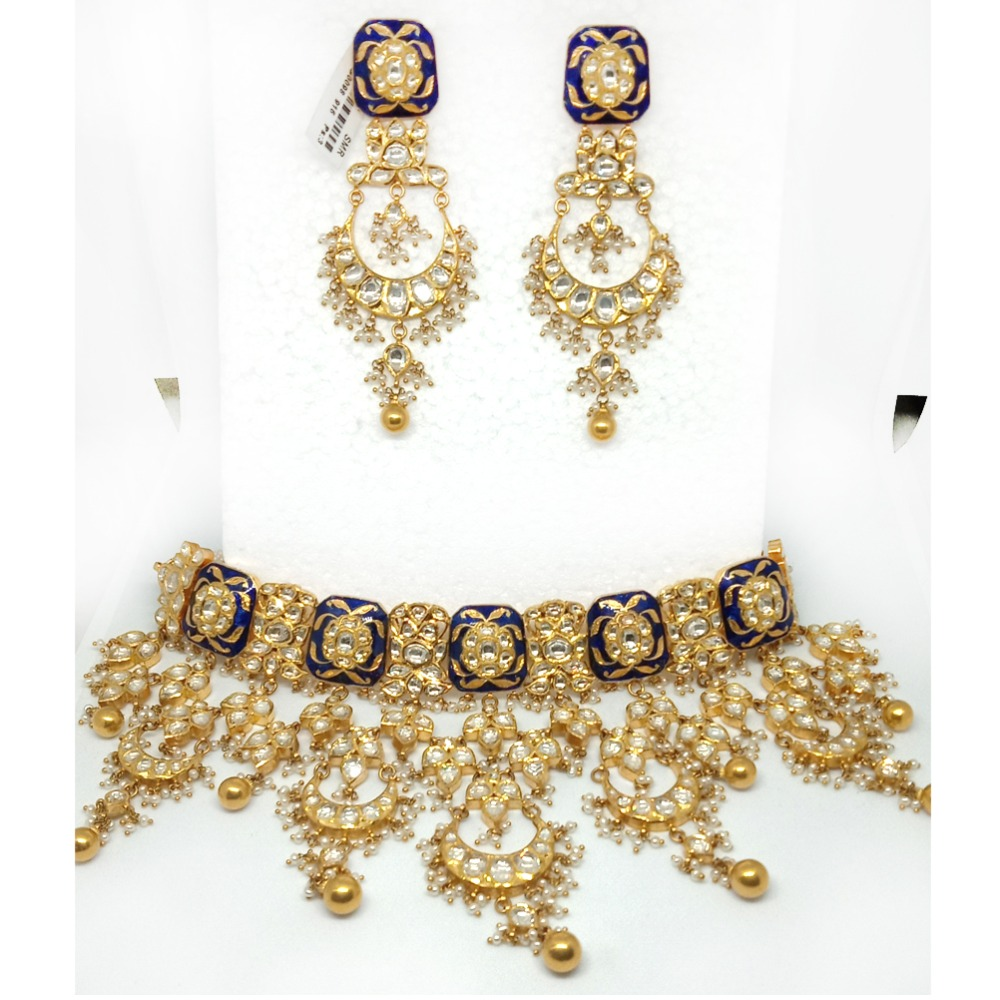 22KT Gold Colorful Wedding Necklace Set - LJ-2