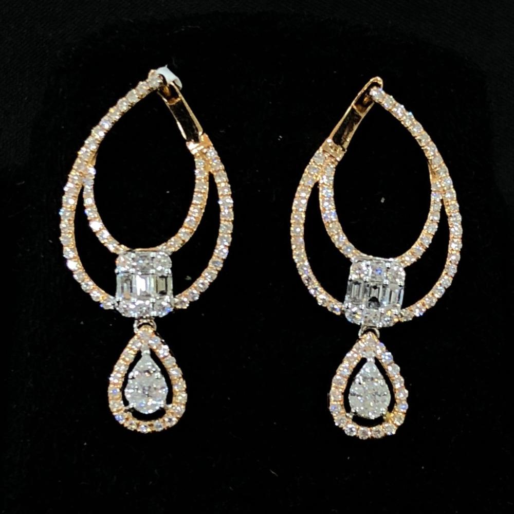 Stylish diamond hoop earring