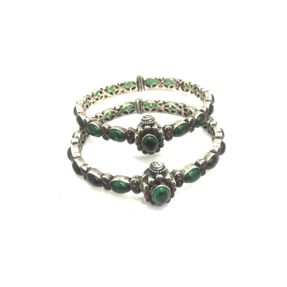 925 Sterling Silver Antique Green Stone Kada