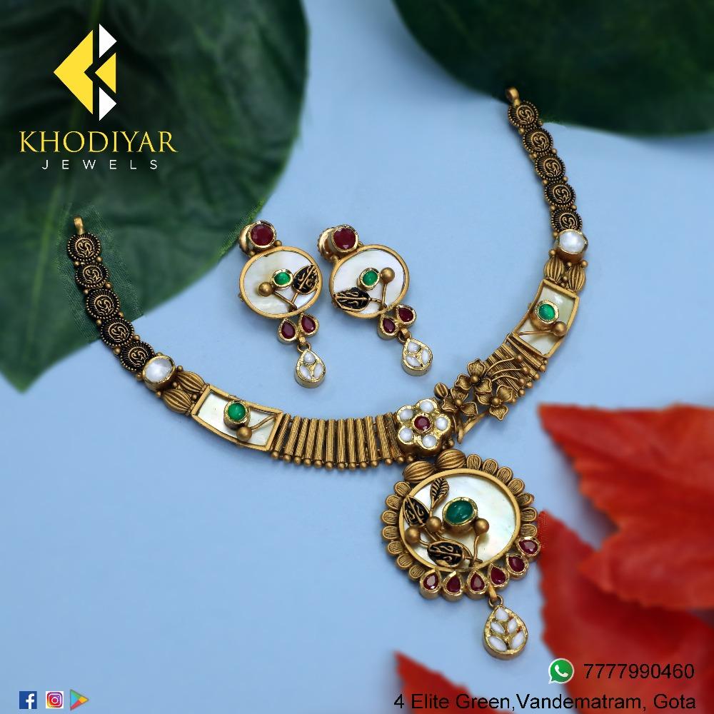 916 Gold Antique Necklace Set KJ-N008