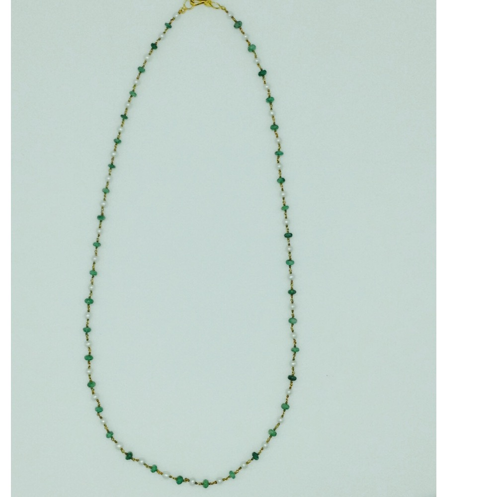 White freshwater round pearls with emeralds gold taar mala jgt0011