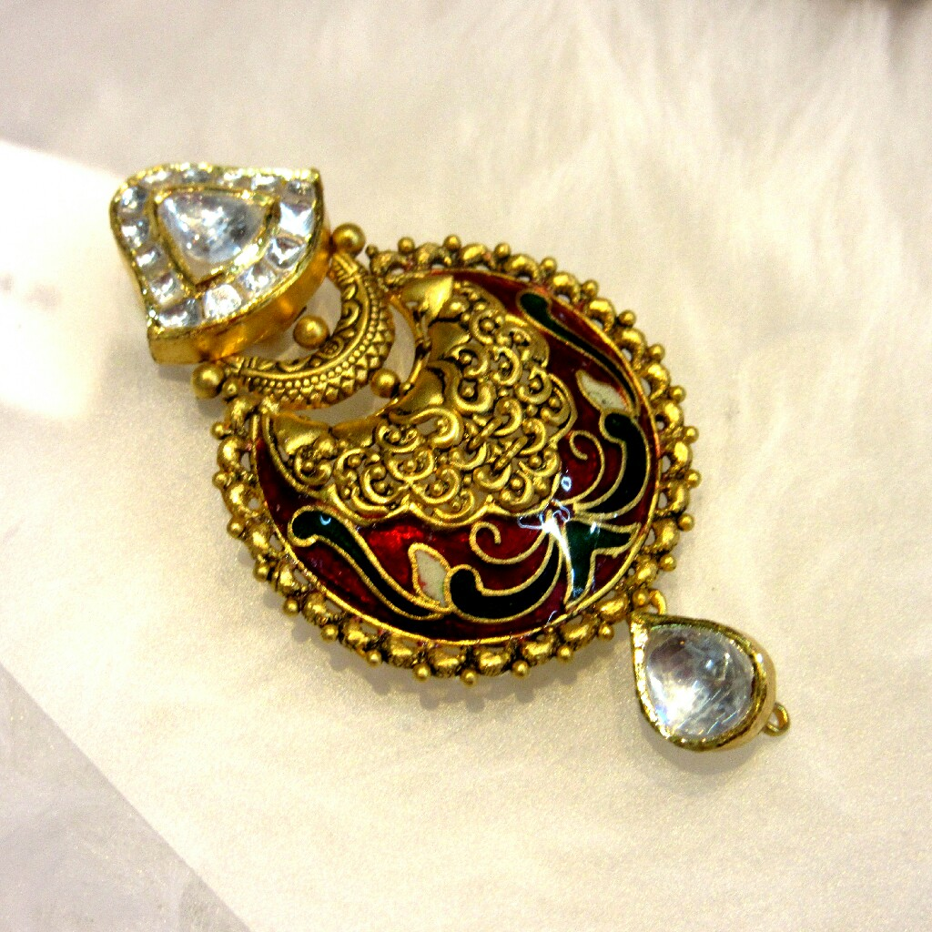 Gold 22k Hallmark Antique Meena Jadtar Necklace Set