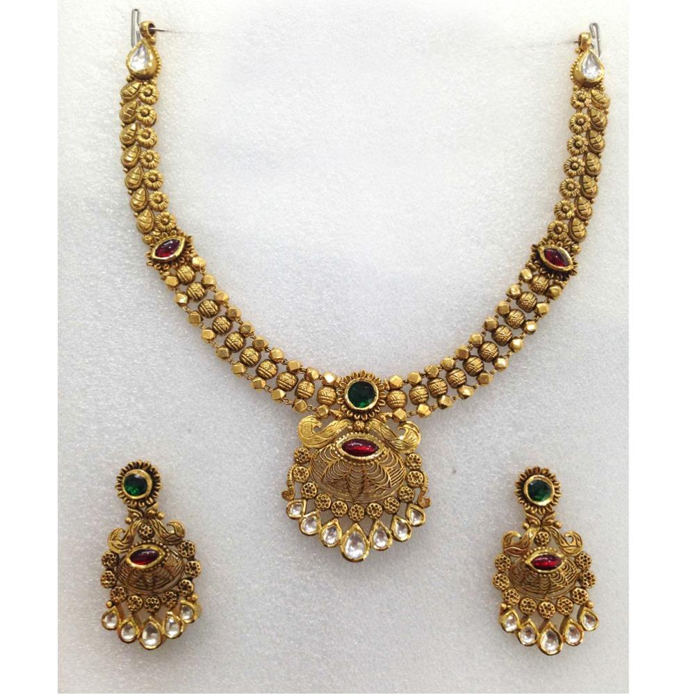 916 Gold Designer Wedding Necklace Set-007